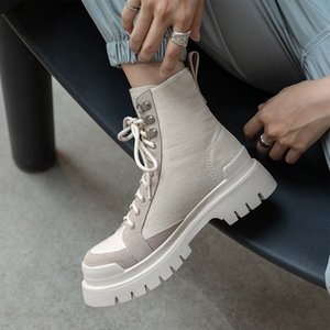 Paris Bl 2020 New Martin Boots French Round Head Thick Bottom Canvas Short Boots Women's British Style Western Boots High