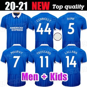 Homem Kit Kit HOVE Albion Soccer Jersey 2020 2021 Maupay Trossard Connolly Murray 20 21 Camisa de Futebol Azul