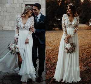 New Country Wedding Dresses Lace Applique Deep V Neck Long Illusion Sleeves Bridal Gowns Sweep Train Boho Bohemain Wedding Dress
