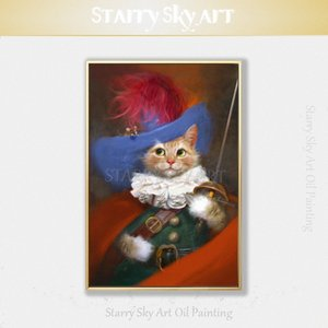 Исполнитель Ручная роспись Настроенный масляной живописи Смешные Knight Cat Картина маслом на холсте Прекрасный животных Cat Customized Ud80 #
