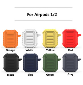 New Silicone Case With Hook For Airpods Protector Cover Shockproof Thick Pouch For Apple AirPods Earphones