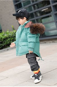 High quality boy and girls big real fur collar hooded down jackets winter new fashion thicken down coats children outerwear