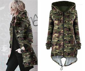 Coats Warm Long Coat Womens Autumn Winter Jackets New Fashion Camouflage Hoodie Coat Slim Fleece Hats