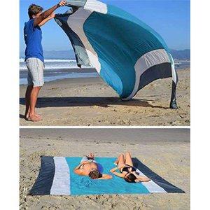 Открытые колодки Пляжное Одеяло Коврик Пикник Большой Песок Свободный Компактный Компакт для 7 человек Водонепроницаемый и быстрый сушка Мэди