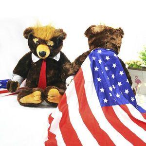 60cm Donald Trump Bear Plush Toys Cool USA President Bear With Flag Cute Animal Bear Dolls Trump Plush Stuffed Toy Kids Gifts