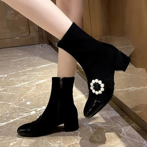 Women Pearl Booties Black Flock Fashion Ankle Boots Bead Ladies Dress Shoes Square Mid Heels 2020 Winter 35-41 botas mujer 8467L