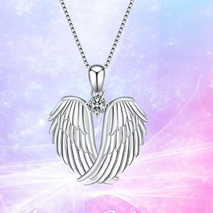 10pcs Hot sale European and American Fashion angel wings pendant necklace jewelry woman clavicle necklace party birthday gift T-84