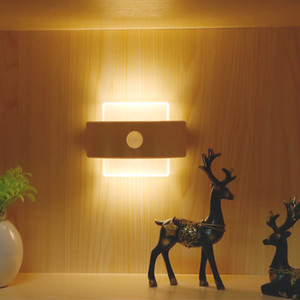 LED human body induction indoor wall lamp USB charging induction small night light cabinet light creative smart bedside lamp