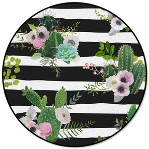 Cactus Flower Plant Black And White Stripes Round Carpets For Living Room Bedroom Area Rugs Soft Home Decor Rug Kitchen Mats