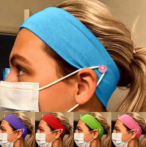 Pure Color Button Mask Headband Anti-leaf Ear Protection Cotton Stretch Yoga Fitness Men And Women Sports Facial Wash Hair Accessori EEA2021