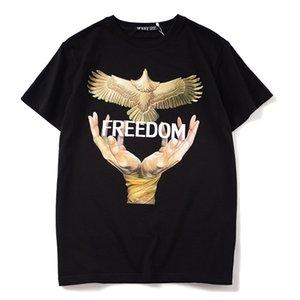 High luxury Men New Fashion T Shirts Pigeon freedom Print T-Shirt Hip Hop Skateboard Street Cotton T-Shirts Tee Top #AC13 0924