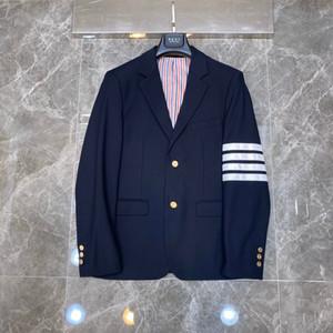 2019new di modo del nero smoking dello sposo Rosso, bianco e strisce blu risvolto affari abito da sposa eccellente Giacca uomo Blazer Suit