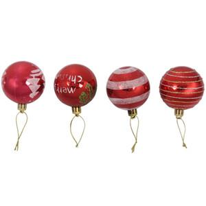 New-24pcs Рождество 6CM Пластиковые украшения рождественской елки Болл (красный)