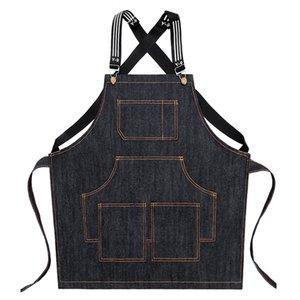 Cozinhar o avental de Barista Bartender Chef cabeleireiro avental Catering Work Wear Uniform Anti-sujas Macacões (Black)