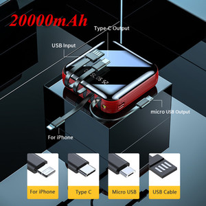 Free shipping 20000mAh Power Bank With 4 Cables For iPhone Digital Display Mirror Screen Powerbank