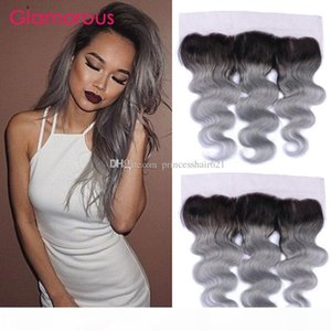 1B Grey Ombre Lace Frontal Closure With Baby Hair Unprocessed Brazilian Virgin Human Hair 13x4 Frontal Grey Ombre Hair Frontals