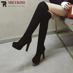 Rotonda Donne RIBETRINI sexy dita sopra il ginocchio Scarpe Donna Tacchi alti marca di modo fibbia stivali autunno inverno Stivali