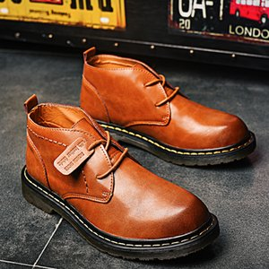 Fashion Male Ankle Boots Lace-up Dress Tooling Botas Formal Shoes Winter Shoes Men Genuine Leather Spring Basic Boots