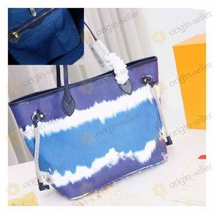 Louis Vuitton ESCALE NEVERFULL M45128 handbag tote bag نمط جديد للنساء شحن حقيبة كبيرة واحدة حقائب الكتف قدرة كبيرة سيدة حقائب اليد حقيبة السفر كبير جدا التوصيل المجانيh