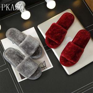 PKSAQ quente de pelúcia de peles de inverno vermelho sapatos sólidos macios interior, chinelos plana com chinelos, sapatos casa térmicas
