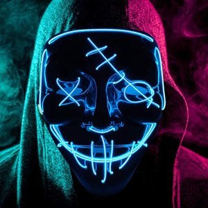 Halloween Mask LED Light Up Mask Scary Glowing Mask for Festival Cosplay Halloween Costume Party