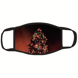 1pcs unisex sveglia stampata orso 1 Bocca 2020 colore solido di modo Fronte nero Babbo Natale mascherina del fumetto antipolvere antivento