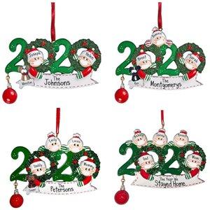 2020 adornos de navidad bendiciones nombre de bricolaje de resina muñeco de nieve máscara de la cara lleva colgante de campana máscara mascarilla muñeco de nieve de Navidad que cuelga