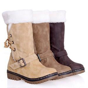 Плюс Размер EUR48 Winter Snow Boots для женщин сгущает Хлопок Плюшевые зашнуровать снег Mid Calf Boots 2020 Новый Customized, хаки, белый