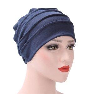 Berretto / cranio Caps Donne di alta qualità Stretchy Turban Hat Head Wrap Cotton Cap Solido Soft Fountyscarf Fashion Muslim Sciarpa # W3