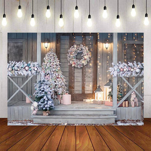 Photography Background Winter Christmas Flash Gift Retro Vintage Wood Door Decoration Christmas Tree Backdrops Photo Studio