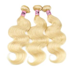 Nami cheveux 613 Blonde Brésilien Human Cheveux Bundles Weave avec fermeture blonde blonde vague de corps humaine Remy Remy Hair Extensions de cheveux