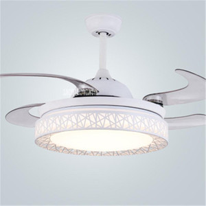 9024 36inch Chinese Retro Electric Pendant Fan With Led Modern Simple Bird's Nest LED Invisible Ceiling Fan Light 110 220V