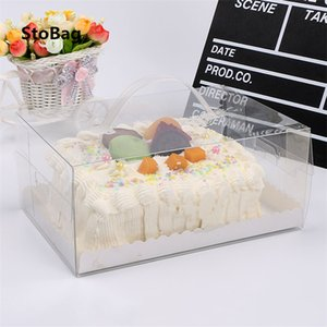 StoBag 10pcs Transparent Portable Packing Box For Cake Handmade Baking Cookies Snack Handle Baby Shower Gift Favor Decoration