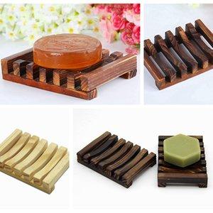 Sabão de madeira de bambu natural Pratos armação de madeira Placa carvão Sabonetes Caixa de armazenamento Container Levante Bath Acessório LJJP470