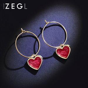 Hot Sale Red peach heart love earrings feminine temperament Korean versatile net red heart earrings 2020 new trend