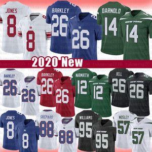 26 Saquon Barkley 8 Daniel Jones Sam Darnold Le'Veon Bell Jersey New Joe Namath IorqueJatosGigantes C.J. Mosley Quinnen Williams Engrama