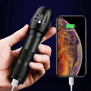 Powerbank USB rechargable led Tactical Flashlight Torch CREE XM-L2 T6 Zoom usb built in 18650 battery flashlight Y200727