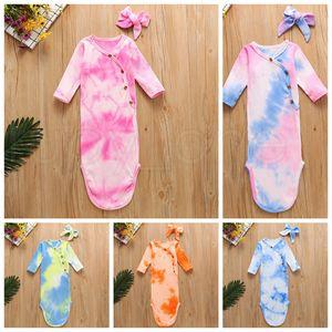 5 couleurs du nouveau-né bébé Swaddle Blanket Bandeaux 2 pcs Wrap enfant en bas âge couchage Sacks Photographie Prop Tie Dye nourrisson Sac de couchage RRA3605