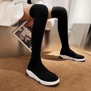 2020 Женщин Stretch Носок Long Tight High Boots коренастые платформы Фетиш над коленом Boots Stripper Зимняя Комфортная Серая обувь