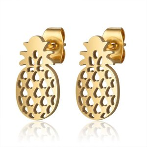 100% acciaio inossidabile 316L Pineapple Stud orecchino per il regalo Donne Mai appannamento semplici gioielli Dropshipping