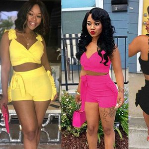 Two Piece Set 2020 Summer women crop tops High Waist Shorts 2pcs Ruffles Bow outfits Ladies Yellow Slim matching Clothes sets