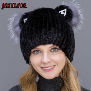 JERYAFUR Echt Hut für Frauen Wintermütze mit vertikalen Weben netten Hüte mit Katzenohren und Fell