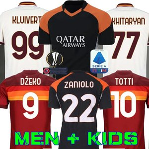 كرة القدم بالقميص AS DE ROSSI ROMA دزيكو ZANIOLO روما TOTTI بيروتي كولاروف 20 21 لكرة القدم قميص 2020 2021 الرجال الأطفال عدة زي مايوه الثالثة