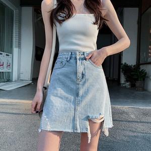 AC5D0 2020 여름 구멍 새로운 HaQAL와 슈퍼 핫 데님 데님 Apron- 라인 엉덩이 덮인 스커트 한국 스타일 높은 허리 여성 인 스커트