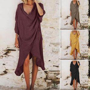 Günlük Elbiseler Kadınlar Vintage Asimetrik Hem Uzun Gömlek Elbise Zanzea Sonbahar 3/4 Kollu Pamuk Keten Blusas Gevşek Çalışma Sundress Vestido