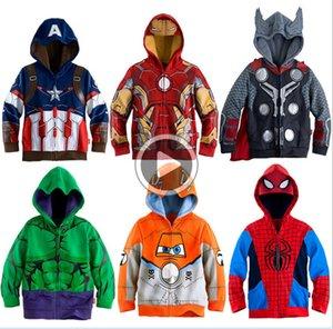 automne Printemps Garçons Hoodies enfants Cartoon Sweat pour enfants veste à manches longues Boy Captain America Super-héros Manteau Vêtements Zipper Y18102507