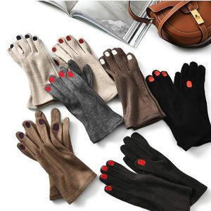 Cute ногтей eEmbroidery Кашемир перчатки женщин шерсти бархатной Толстые Сенсорные перчатки экрана Женский Зимний Теплый Driving H100