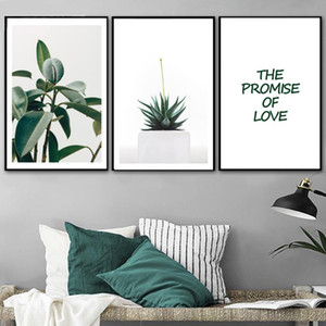 Green Leaves Succulent Plants Love Quote Wall Art Canvas Painting Nordic Posters And Prints Wall Pictures For Living Room Decor