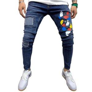 MISSKY Hombres Vaqueros Pantalones largos Otoño Invierno Patch impresión flojos del dril de algodón pantalones pantalones para hombres adultos Pantalones Nuevos