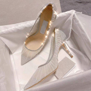 Hot Sale-Shiny Breathable Lace High Heels Fine with Women Pumps Sexy Mesh Female Summer Shoes Pointed Bridal Wedding Shoes 8cm
